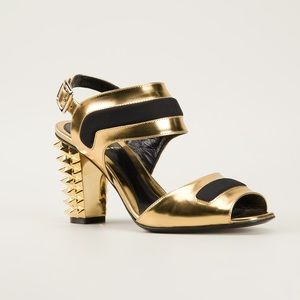Fendi gold spike heeled sandals